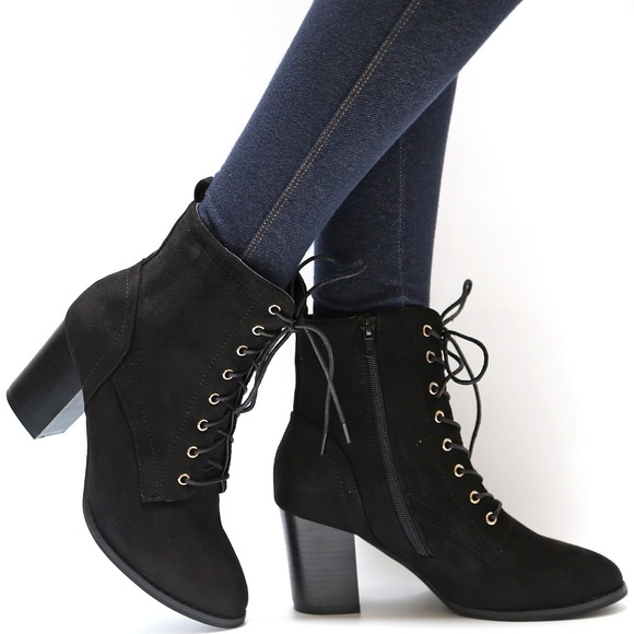 black lace up block heel booties